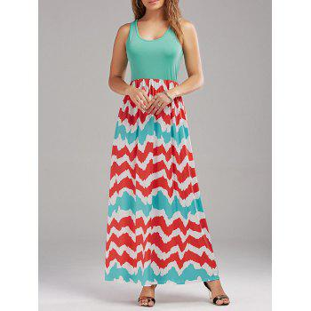 High Waist Zig Zag Sleeveless Maxi Dress
