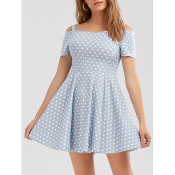 Vintage Cold Shoulder Polka Dot Short Prom Dress
