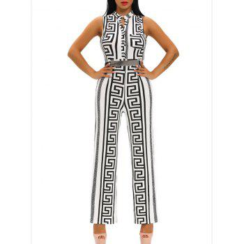 V Neck Printed Sleeveless Wide Leg Jumpsuit
