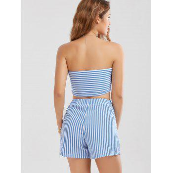Knotted Crop Top and Striped Shorts Twinset - BLUE STRIPE S