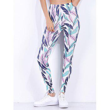 High Waist Tropical Leaf Printed Workout Leggings