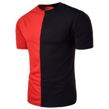 Crew Neck Short Sleeve Color Block Panel T-shirt
