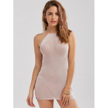 Knit Sheer Backless Criss Cross Mini Dress - ONE SIZE ONE SIZE
