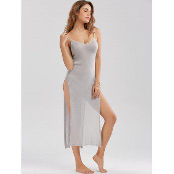 Knitted Sheer High Slit Midi Dress - ONE SIZE ONE SIZE
