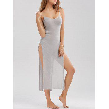 Knitted Sheer High Slit Midi Dress - LIGHT GRAY LIGHT GRAY