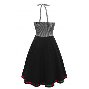 Vintage Pinstripe Panel Contrast Buttoned Dress - BLACK S