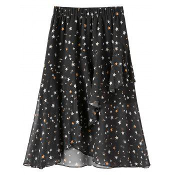 Star Print Chiffon Plus Size Midi Skirt