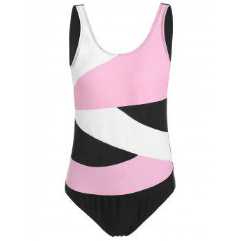 Color Block Padded Plus Size One Piece Swimsuit