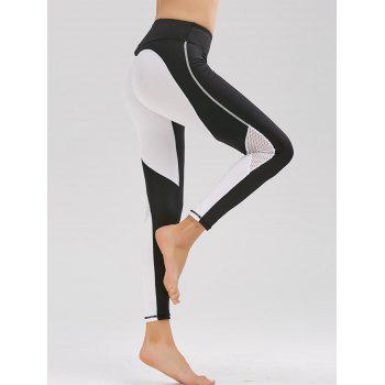 Two Tone Mesh Panel Workout Leggings