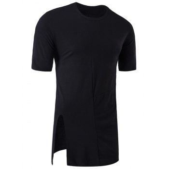 Side Slit Half Sleeve Panel Longline T-shirt