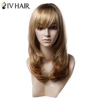 Long Inclined Bang Layered Tail Adduction Straight Colormix Synthetic Wig