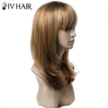 Siv Hair Long Incliné Bang Layered Tail Adduction Straight Colormix Real Hair Wig - multicolorcolore