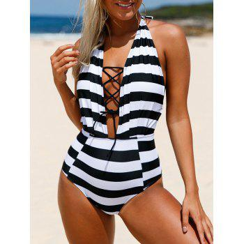 Lace-Up Halter Striped High Waisted Swimsuit