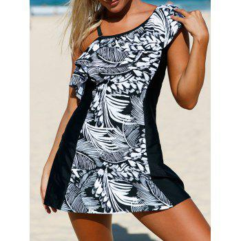 Detachable One Shoulder Skirted Swimsuit