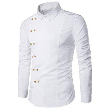 Turndown Collar Long Sleeve Double Breasted Shirt