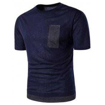 Crew Neck Novelty Pocket Color Block Panel T-shirt