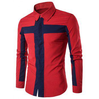 Cover Placket Color Block Cross Panel Shirt