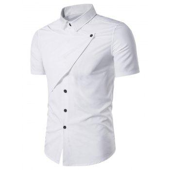 Turndown Collar Short Sleeve Novelty Placket Shirt