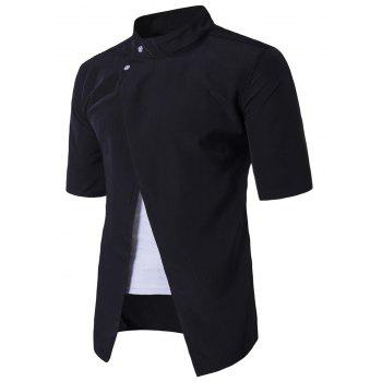 Stand Collar Short Sleeve Faux Twinset Panel Shirt