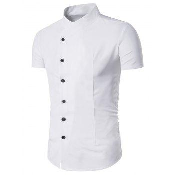 Fitted Short Sleeve Oblique Placket Shirt