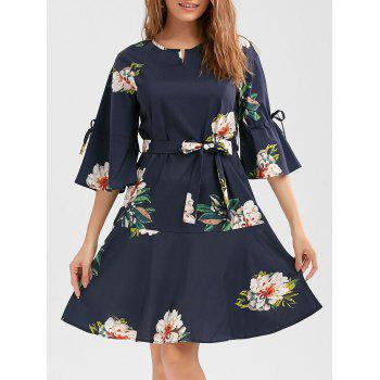 Flower Print Drop Waist Dress with Belt