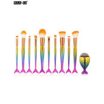 MAANGE 10Pcs Mermaid Makeup Brushes and Foundation Brush