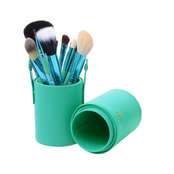 12Pcs Multifunction Portable Makeup Brushes and Bucket - Vert