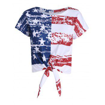 Distressed American Flag Tie Front Cropped Top - COLORMIX S