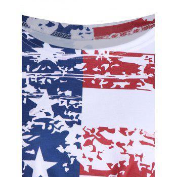Distressed American Flag Tie Front Cropped Top - COLORMIX L