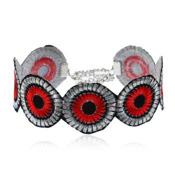 Round Flower Embroidery Ethnic Choker Necklace