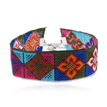 Flower Ethnic Embroidery Choker Necklace