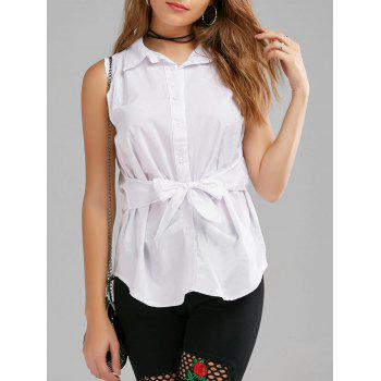 Sleeveless Button Up Shirt with Belt