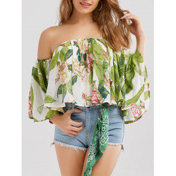 Floral Off Shoulder Ruffle Chiffon Blouse