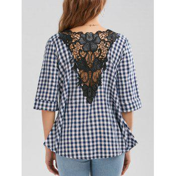 V Neck Plaid Lace Insert Blouse