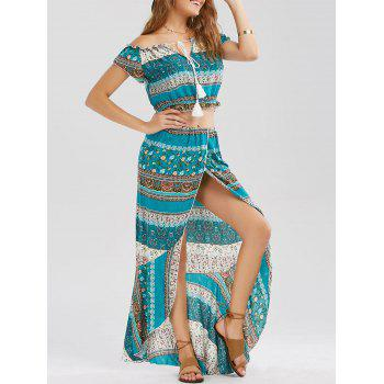 Off Shoulder High Slit Two Piece Dress