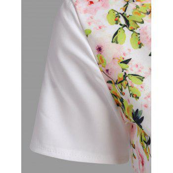 Short Sleeve Floral Print Dress - WHITE M