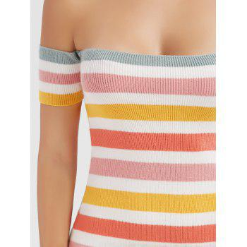 Off The Shoulder Colorful Striped Knitted Mini Dress - COLORMIX S