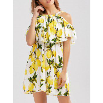 Lemon Print Flounce Dress