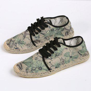 Floral Printed Espadrilles Flat Shoes - GREEN 37