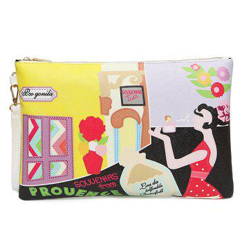 Cartoon Printed PU Leather Clutch Bag - YELLOW YELLOW