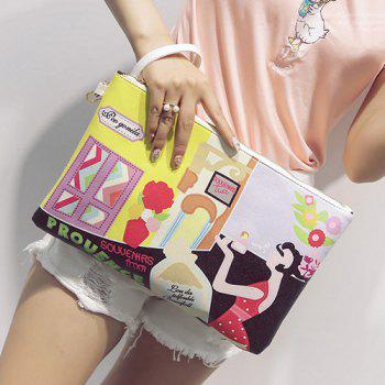 Cartoon Printed PU Leather Clutch Bag -  YELLOW