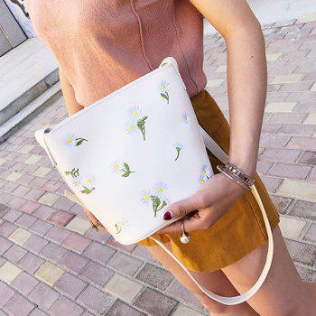 PU Leather Floral Embroidery Crossbody Bag