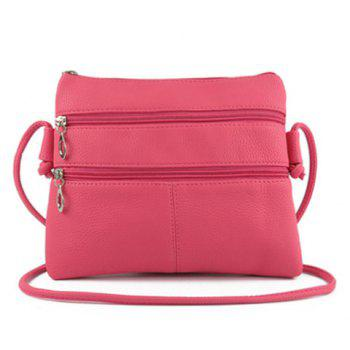Multi Zips PU Leather Crossbody Bag