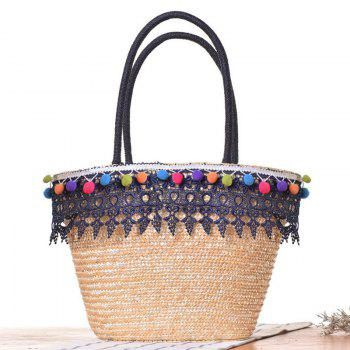 Lace Pom Pom Straw Tote Bag - BLUE BLUE
