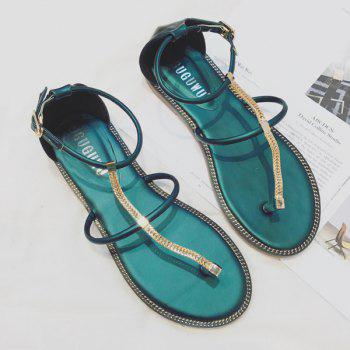 Flat Heel Belt Buckle PU Leather Sandals