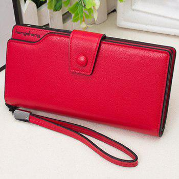 PU Leather Organizer Wristlet Wallet - RED RED