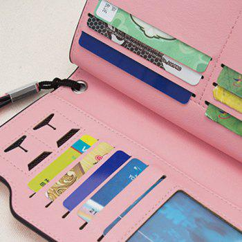 PU Leather Organizer Wristlet Wallet -  BLUE