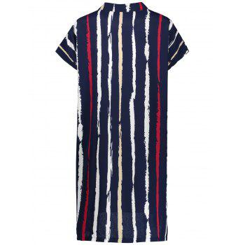 Plus Size Tie Dye Stripe Fitted Tunic Shirt Dress - 4XL 4XL