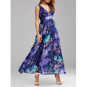 V Neck Floral Print Empire Waist Maxi Dress
