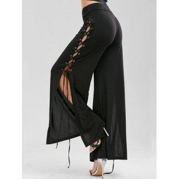 Side Slit Lace Up Palazzo Pants